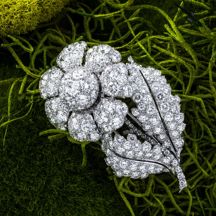 9ed6df098cfd2 Brooches - Platinum and Diamond Flower Brooch, circa 1950s | 4255